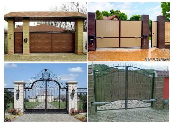 Розпашны ворота різного типу